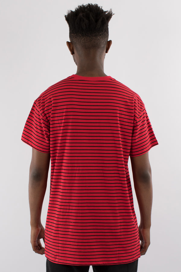DEPARTURE STRIPE CUSTOM FIT TEE - RED/BLACK