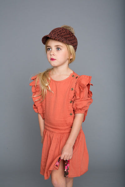marin and morgan 3/4 sleeve dress with ruffle detail