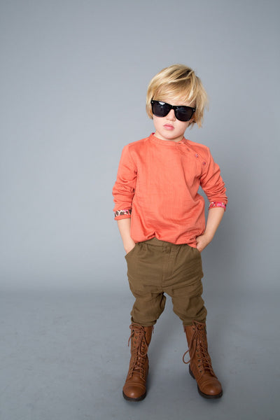 marin and morgan mandarin collar tunic with asymmetrical neckline boys shirt