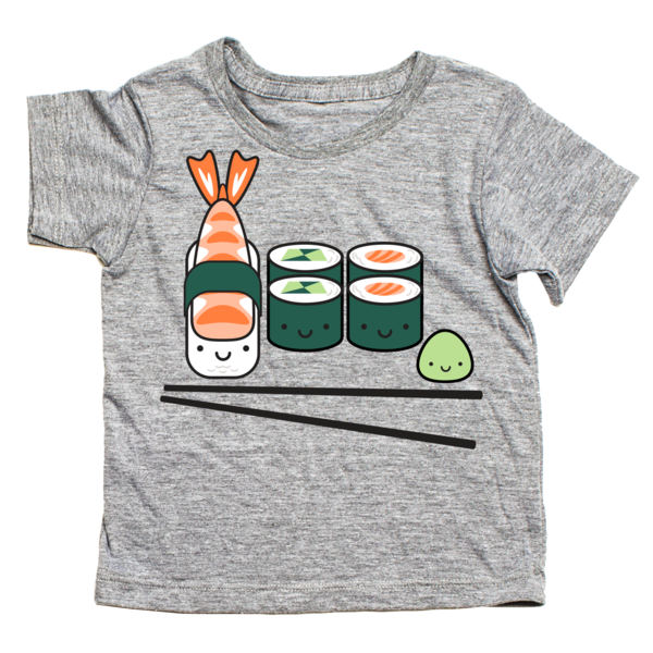 whistle and flute sushi platter t shirt