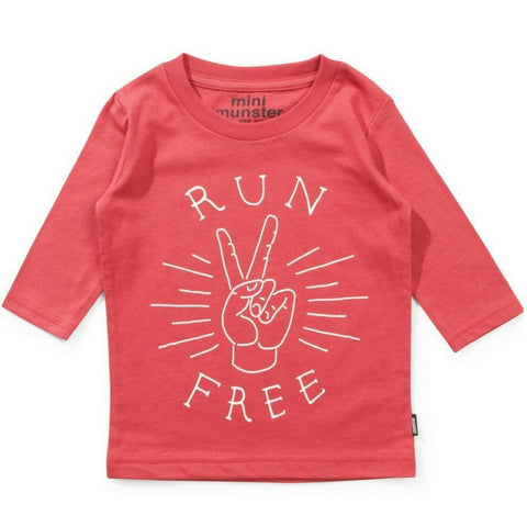 Mini Munster Kids Run Free Tee red boys