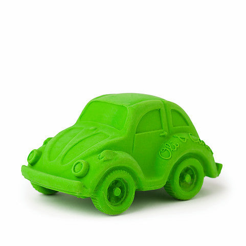 oli and carol retro rubber beetle car baby bath and teething toy in green