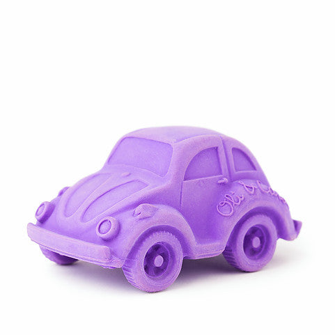 oli and carol retro rubber beetle car baby bath and teething toy in purple