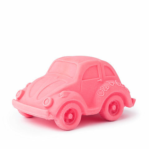 oli and carol retro rubber beetle car baby bath and teething toy in pink