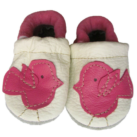 starry knight pink birdie soft sole leather baby moccasin