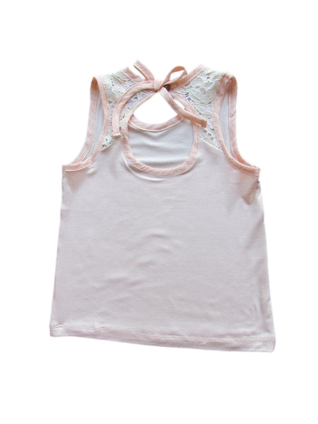 cavelle kids peep hole top girls tank top peach back