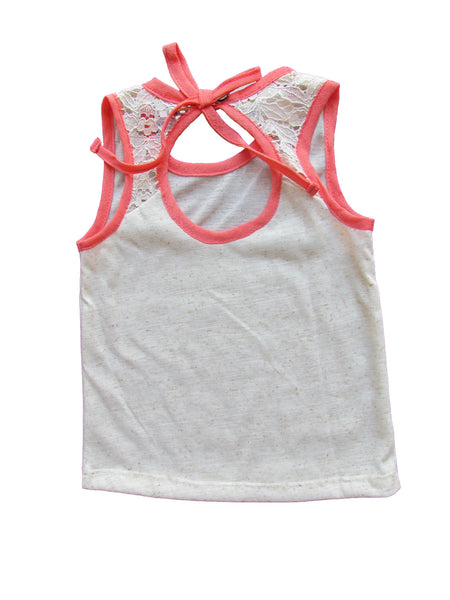 cavelle kids peep hole top girls tank top coral back