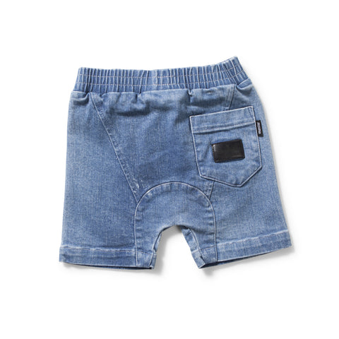 munster kids blaze denim baby shorts - back