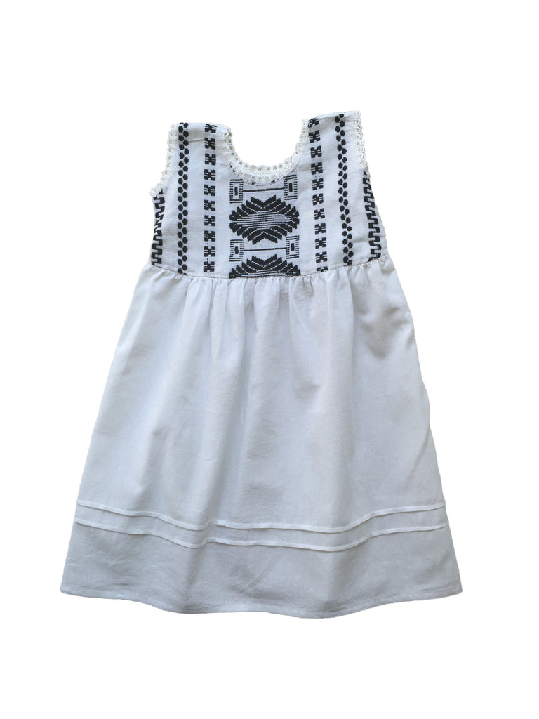 cabbages and kings hand embroidered girls tank dress in black