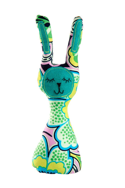 the nest myang rattle turquoise bunny baby rattle