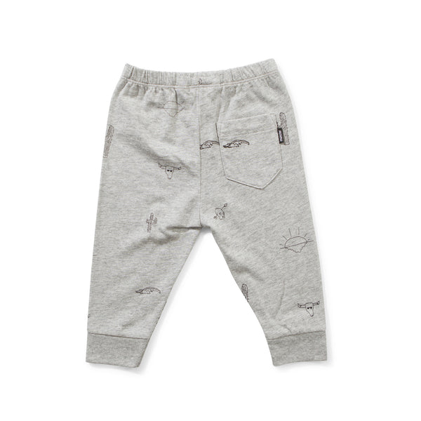 Munster Kids Mex Motif Legging grey marle boy back
