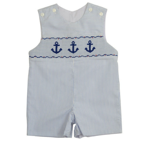 marco and lizzy blue striped anchor romper