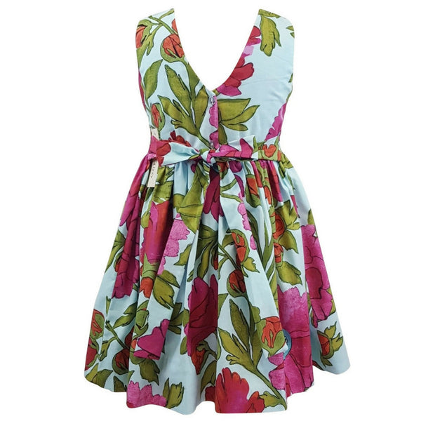 marco and lizzy bold flowers smocked dress back