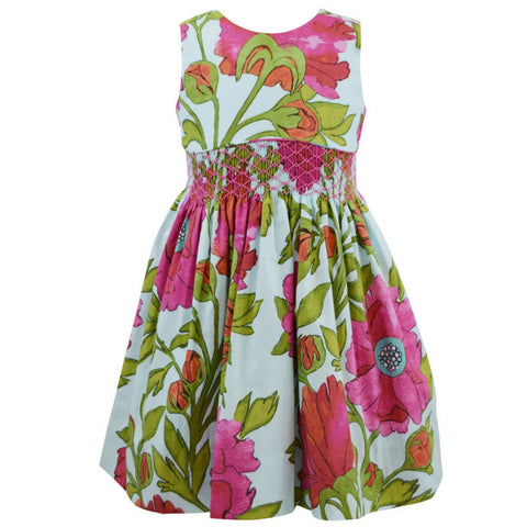 marco and lizzy bold flowers smocked dress