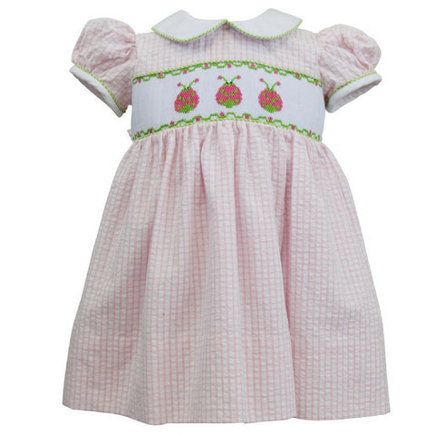 marco and lizzy ladybugs smocked pink check baby dress