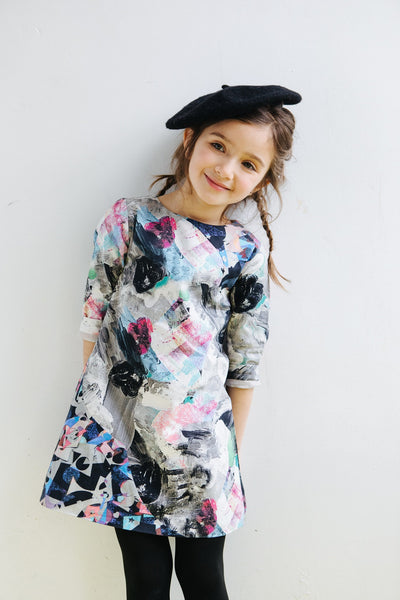 marin and morgan girls shift dress mod robot print