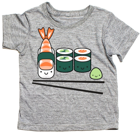 whistle and flute kawaii sushi t-shirt kids unisex