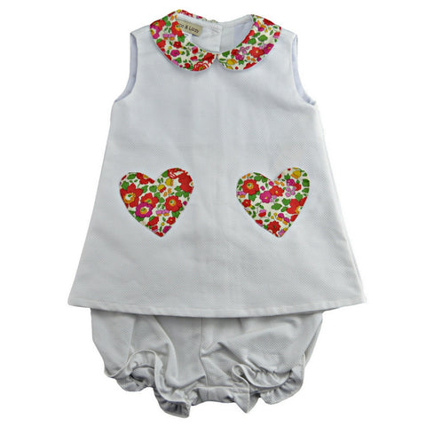 marco & lizzy pique baby dress liberty heart trim baby girl