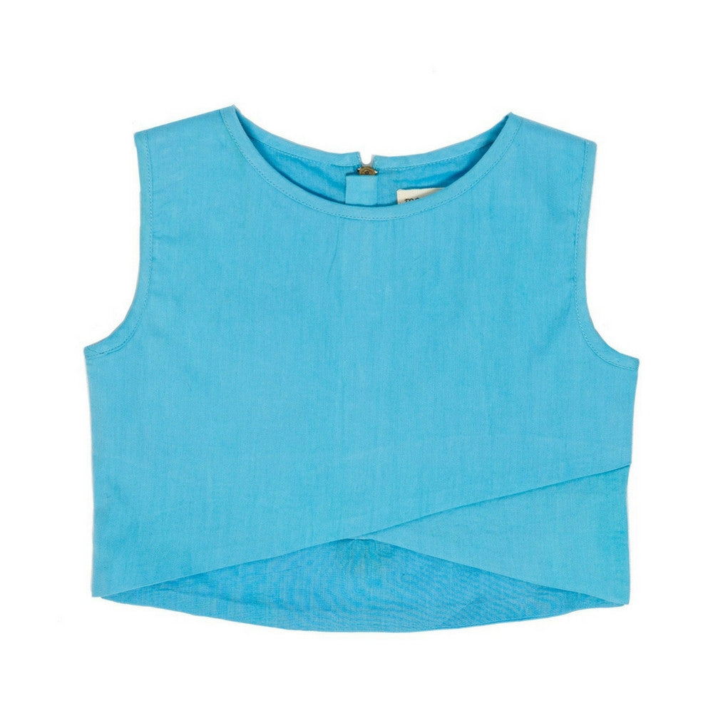 marin and morgan sleeveless crossover crop top blue