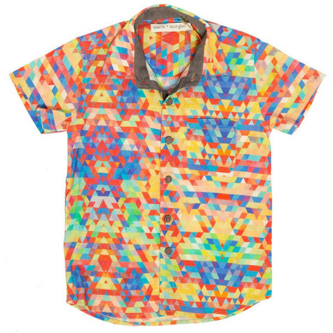 marin and morgan short sleeve collared boys shirt mosaic print