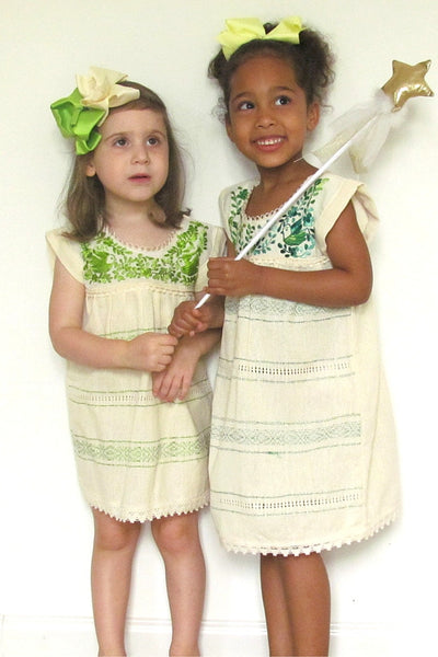 cabbages and kings manta hand embroidered girls dress green