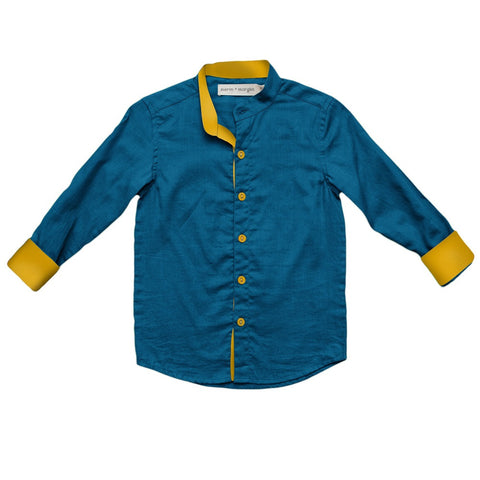 marin + morgan round collar button down boys shirt