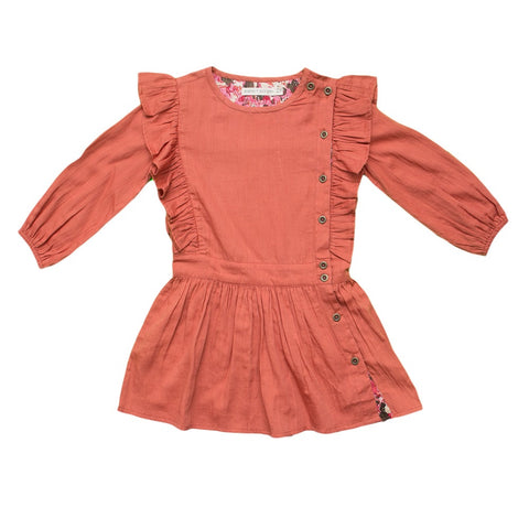 marin + morgan 3/4 sleeve dress ruffle detail girls dress