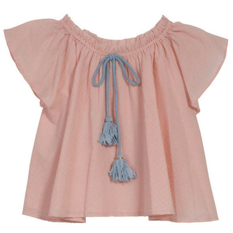 velveteen valentina girls top pink waxed dobby
