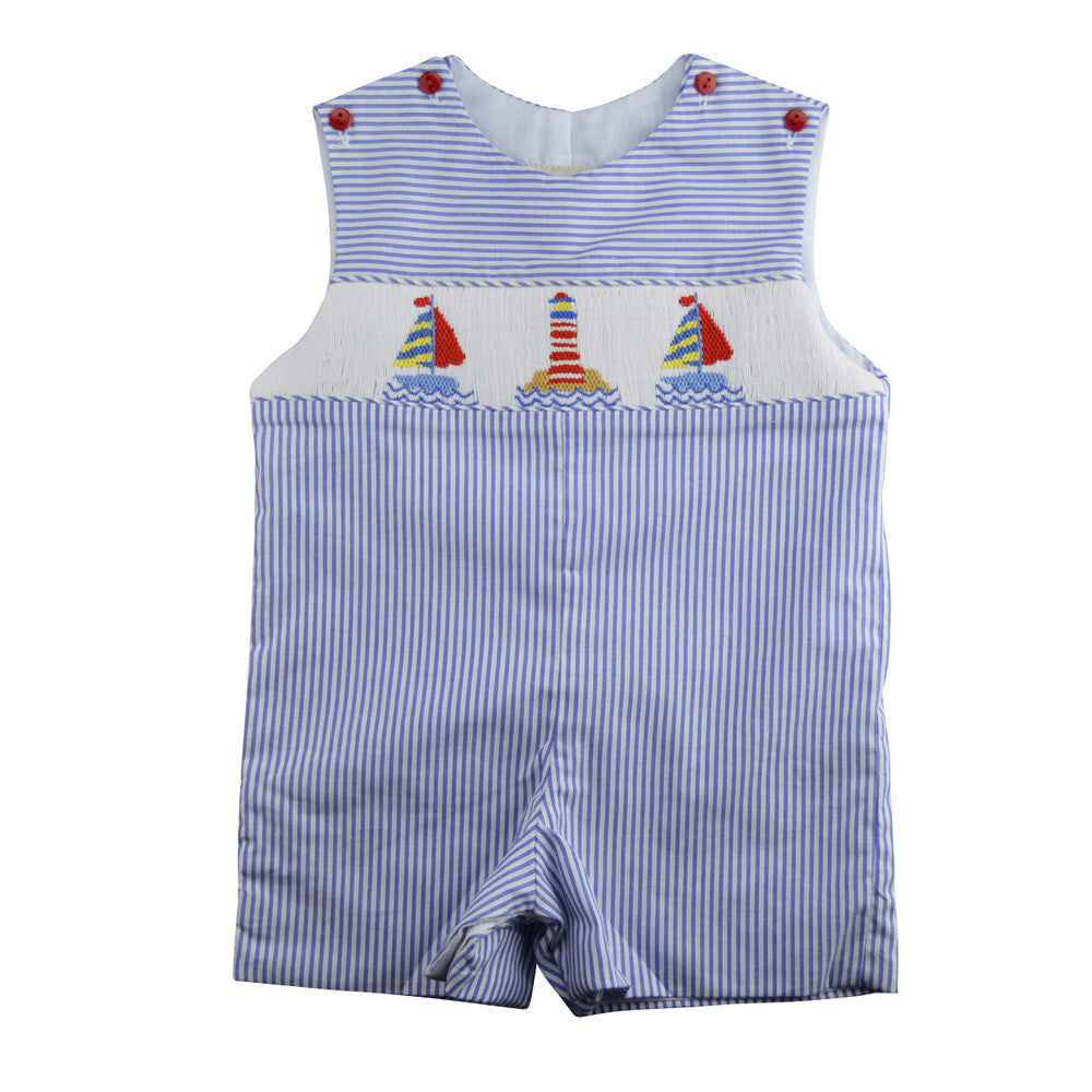 marco & lizzy sailboats smocked overall baby boy suit