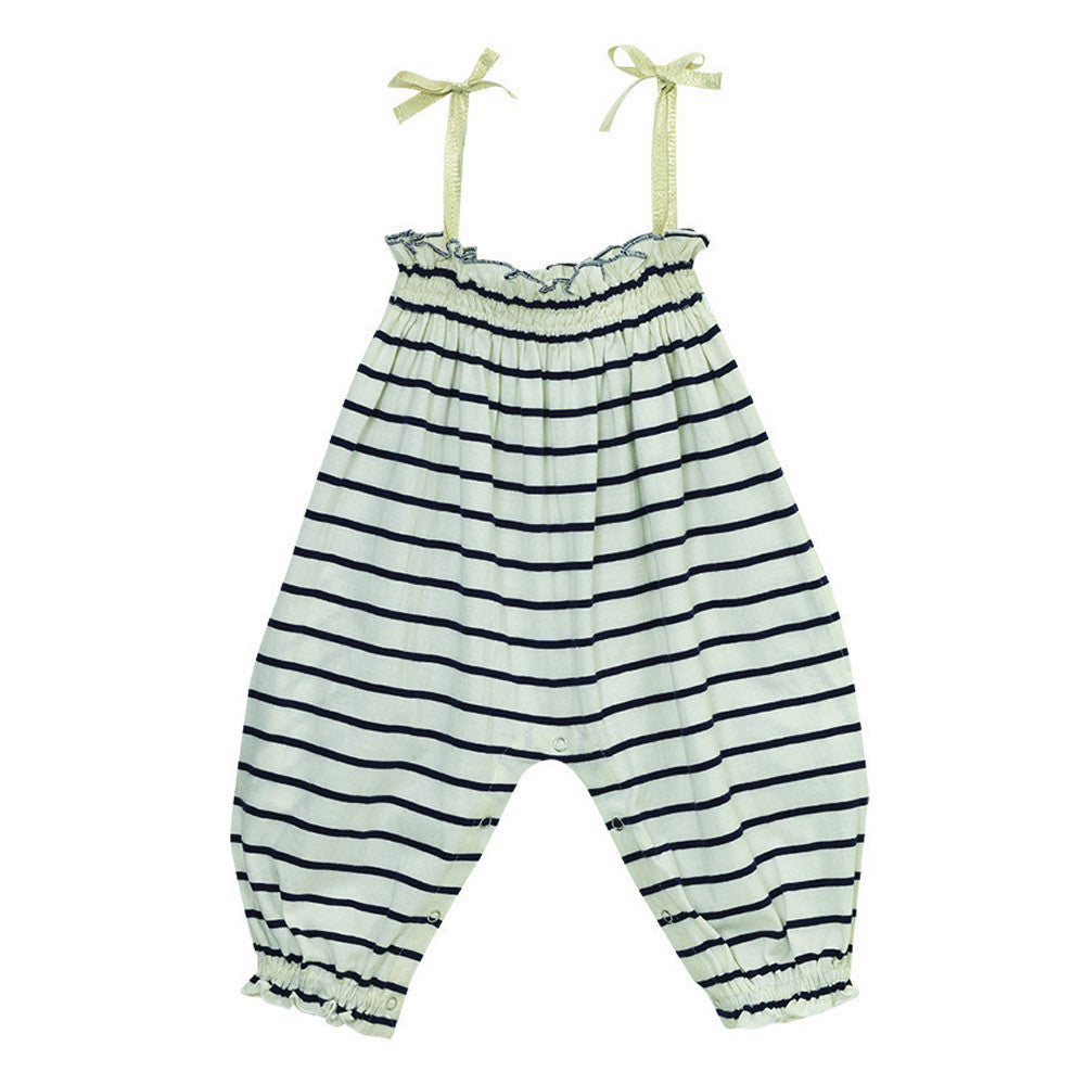 velveteen lisa striped jumpsuit with gold straps baby romper