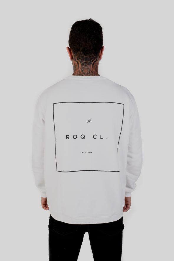ROQ Red Crew Jumper back graphic on tattooed model