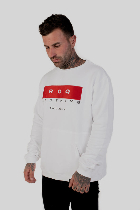 ROQ Red Crew Jumper Front side view on tattooed model