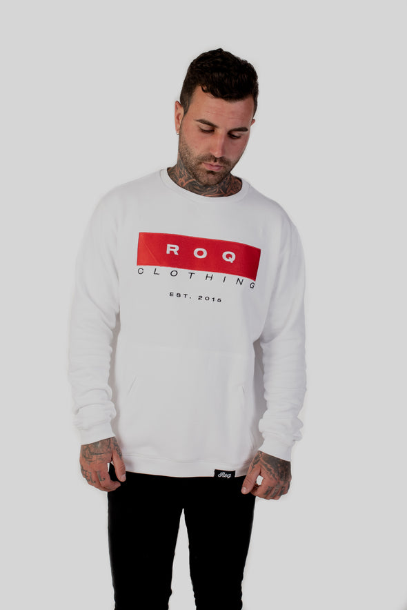 ROQ Red Crew Jumper Front on tattooed model