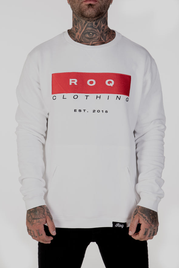 ROQ Red Crew Jumper Front Close up