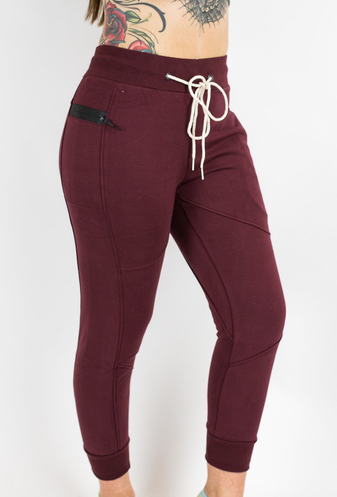 7/8 Fleece Joggers - Burgundy