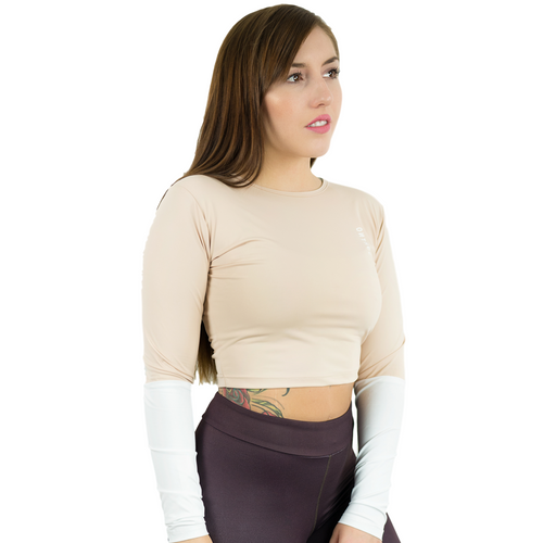 Lycra Long Sleeve Crop - Skin/White