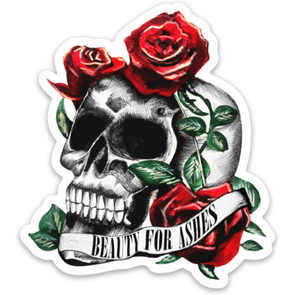 Beauty for Ashes Skull Sticker