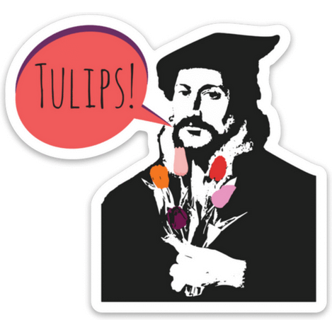 Calvin's Tulips Sticker