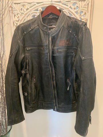 Harley Davidson Mens MAGNUM Triple Vent Black Leather Jacket L XL XLT 97016-15VM