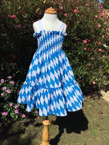 Blue and White Diamond Sundress