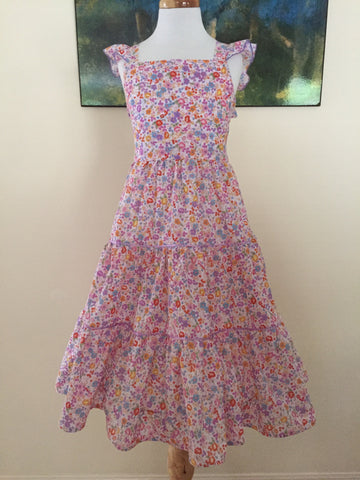Floral Flutter Sleeve Dress with a Three Tier Skirt