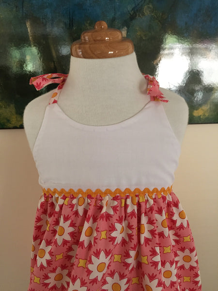 Peach and White Daisies Baby Doll