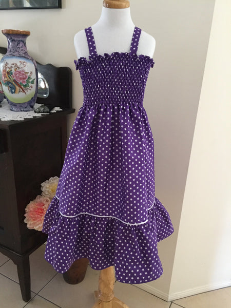 Purple and White Star Sundress