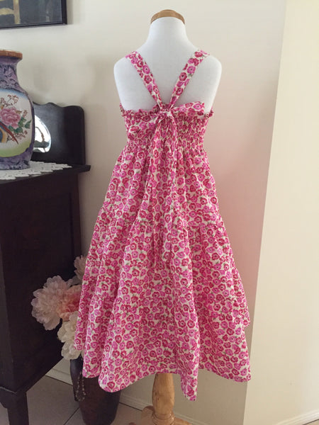 Pink Poppies Sundress with a Three Tier Skirt