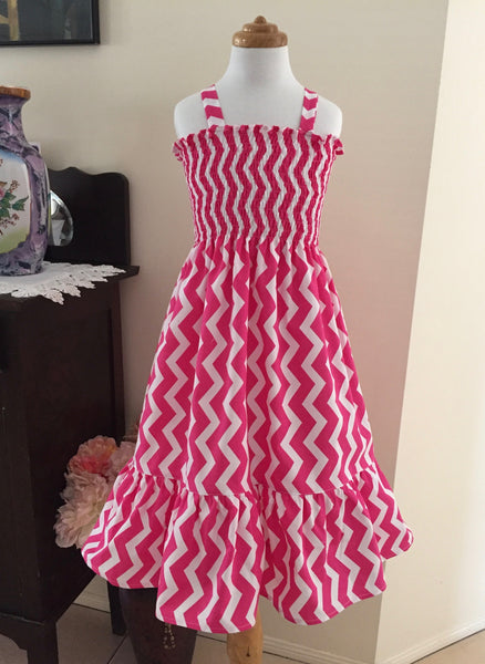 Lipstick Pink and White Chevron