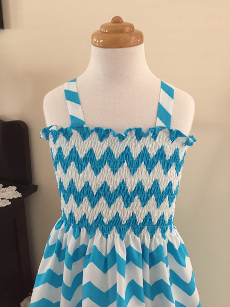 Bright Blue and White Chevron