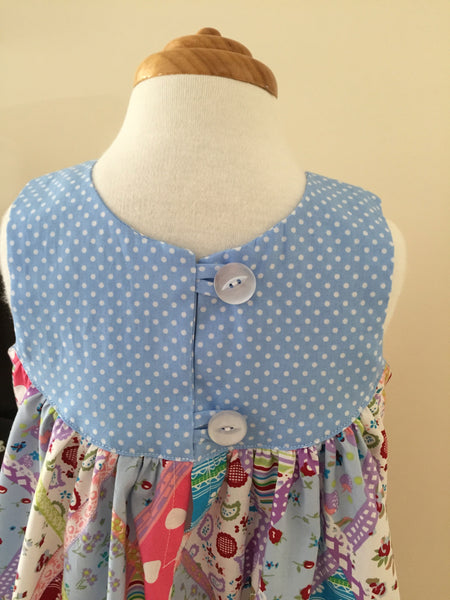 Summertime Dress - Blue Patchwork