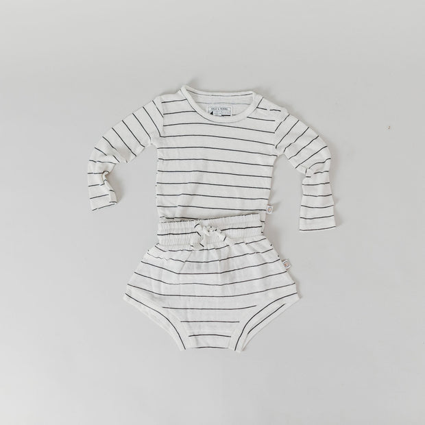 Shorties - Bamboo Luxe Jersey Linen - Black Stripe