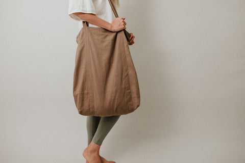 Linen Tote - Oversized - Walnut