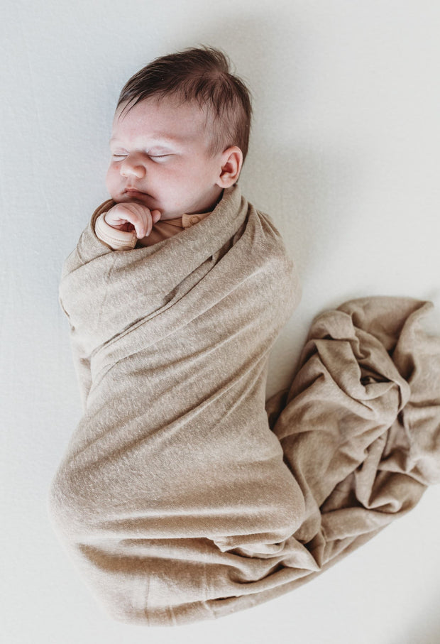 Baby Swaddle/Wrap - Bamboo Luxe Linen Jersey - Chai